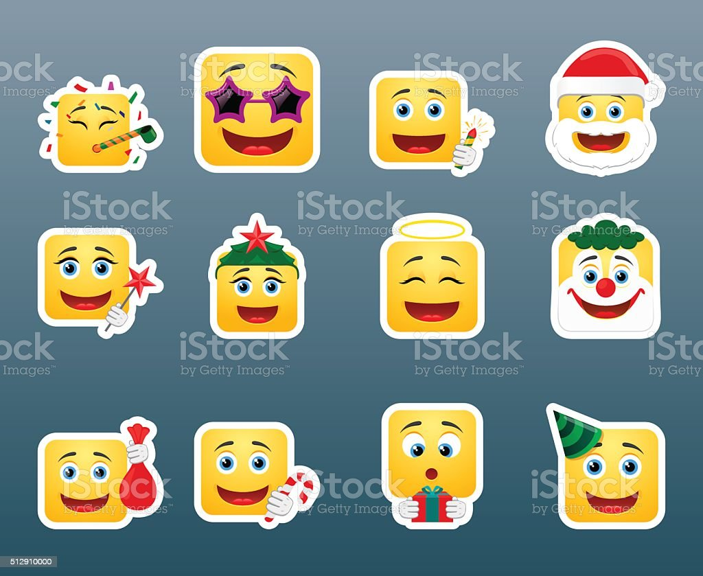 Christmas vacation smile stickers set vector art illustration