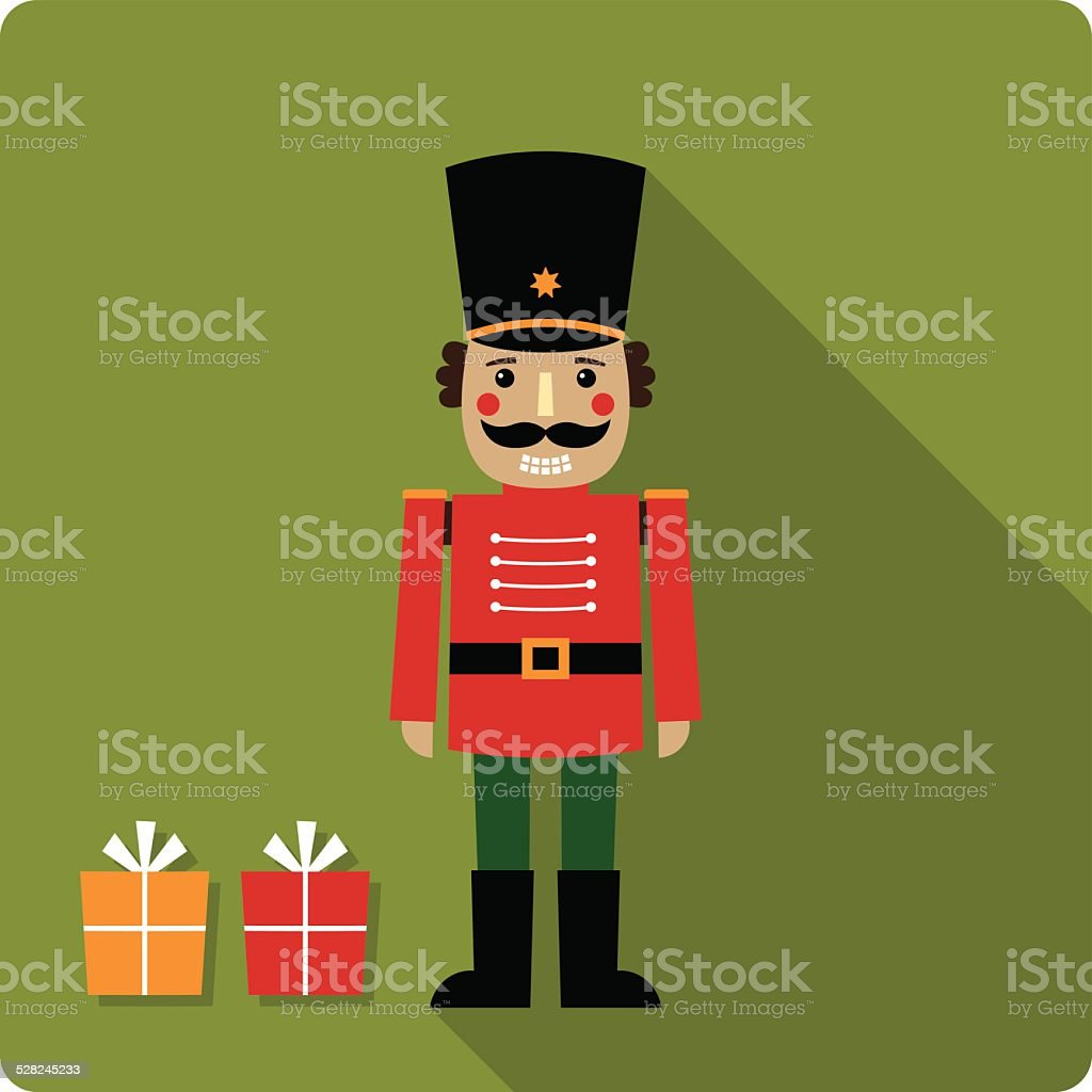 Christmas vector card with a nutcracker vector art illustration