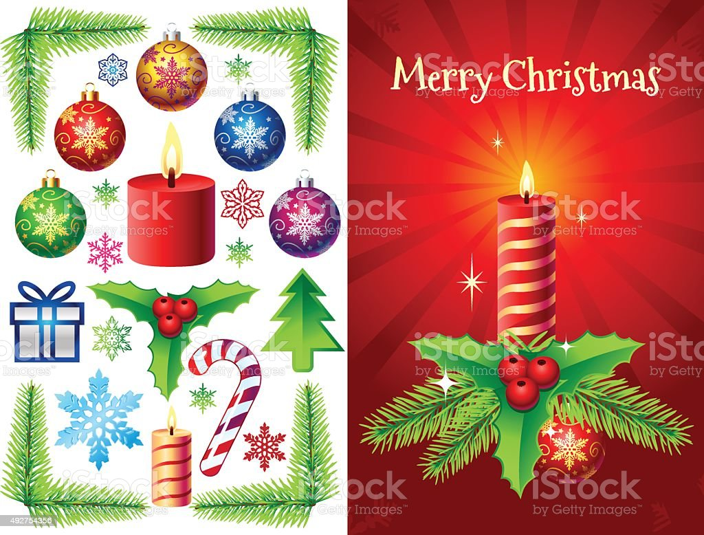 Christmas Vector Decorations Set vector art illustration
