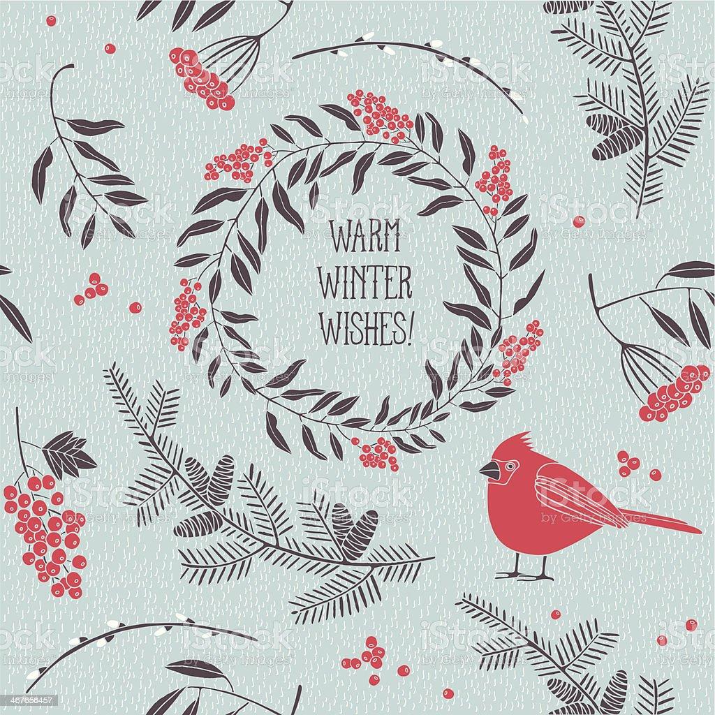 Christmas vector illustration - bird with ash-berries. vector art illustration