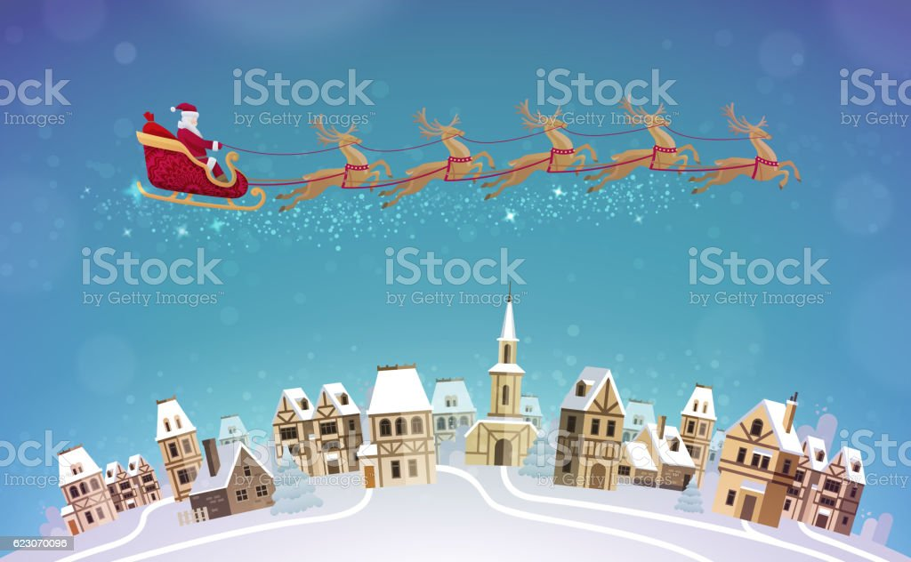 Christmas, vector illustration. Santa Claus rides in sleigh pulled by vector art illustration