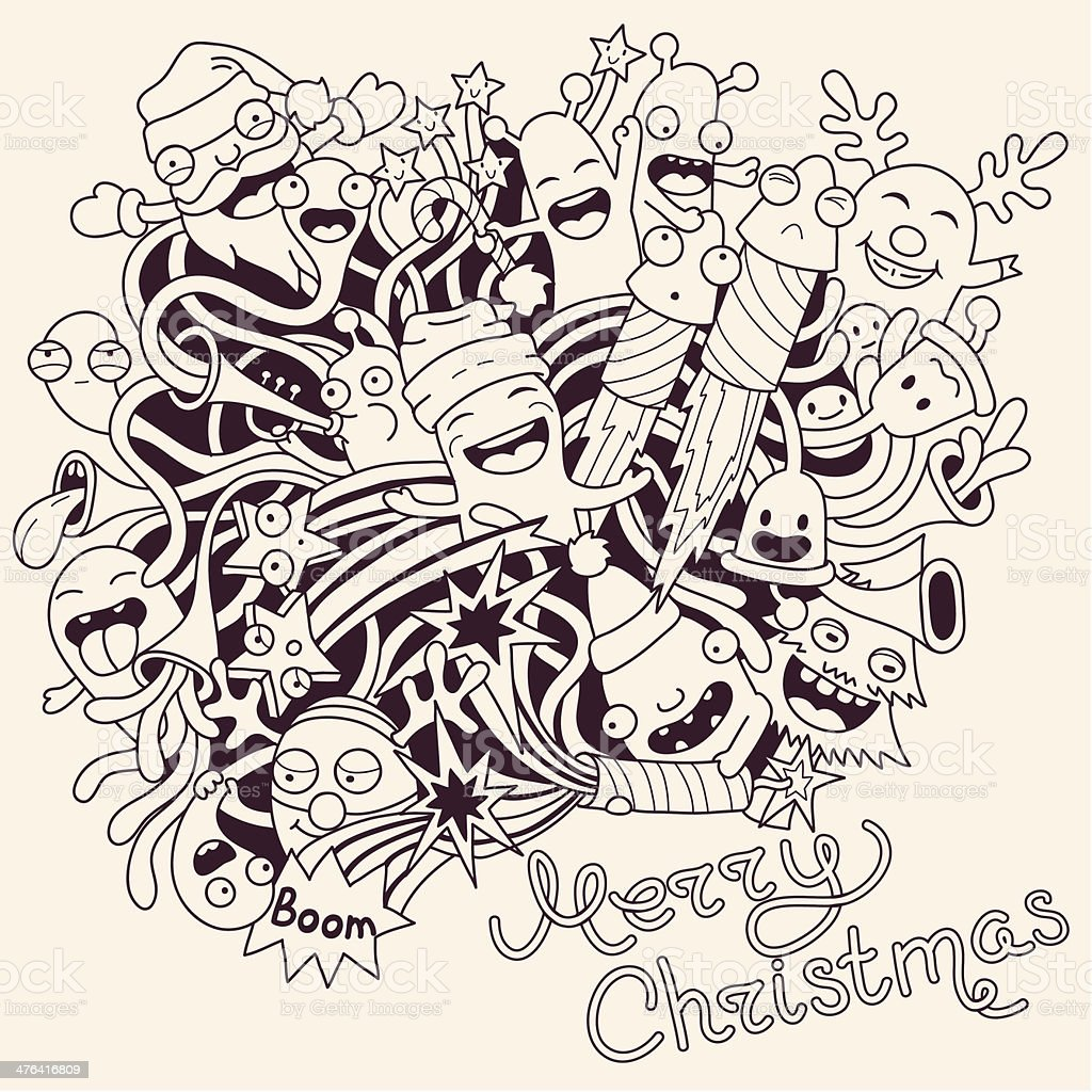 Christmas vector illustration with cute funny monsters royalty-free stock vector art
