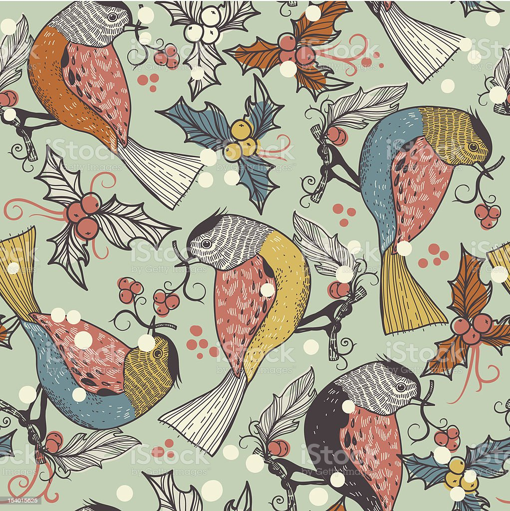 Christmas vector seamless pattern with birds and berries royalty-free stock vector art