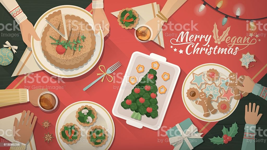 Christmas vegan dinner vector art illustration