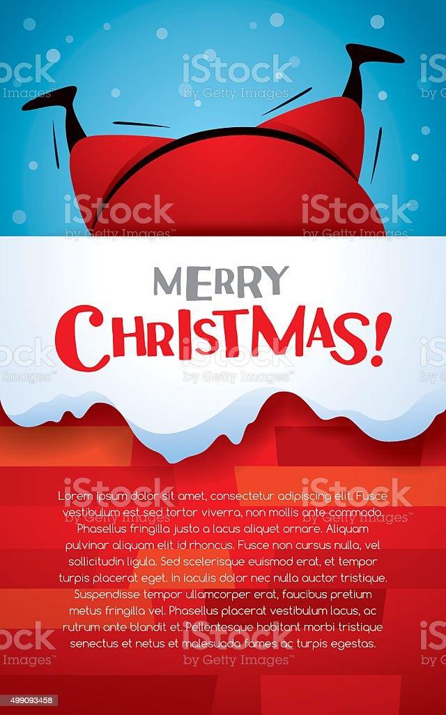Christmas vertical banner. Santa Claus stuck in a chimney. vector art illustration