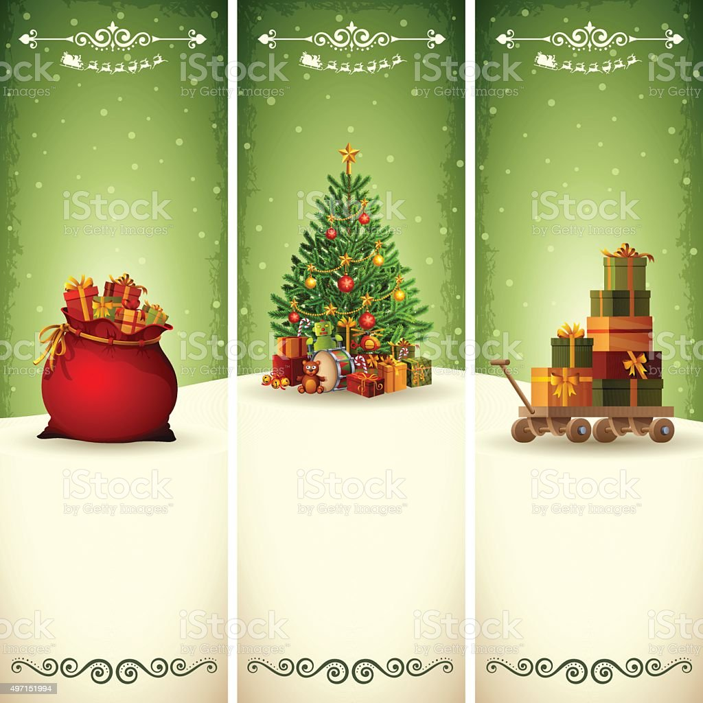 Christmas Vertical Banners vector art illustration