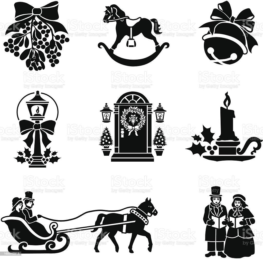 Christmas Victorian Icons stock vector art 165040313 | iStock