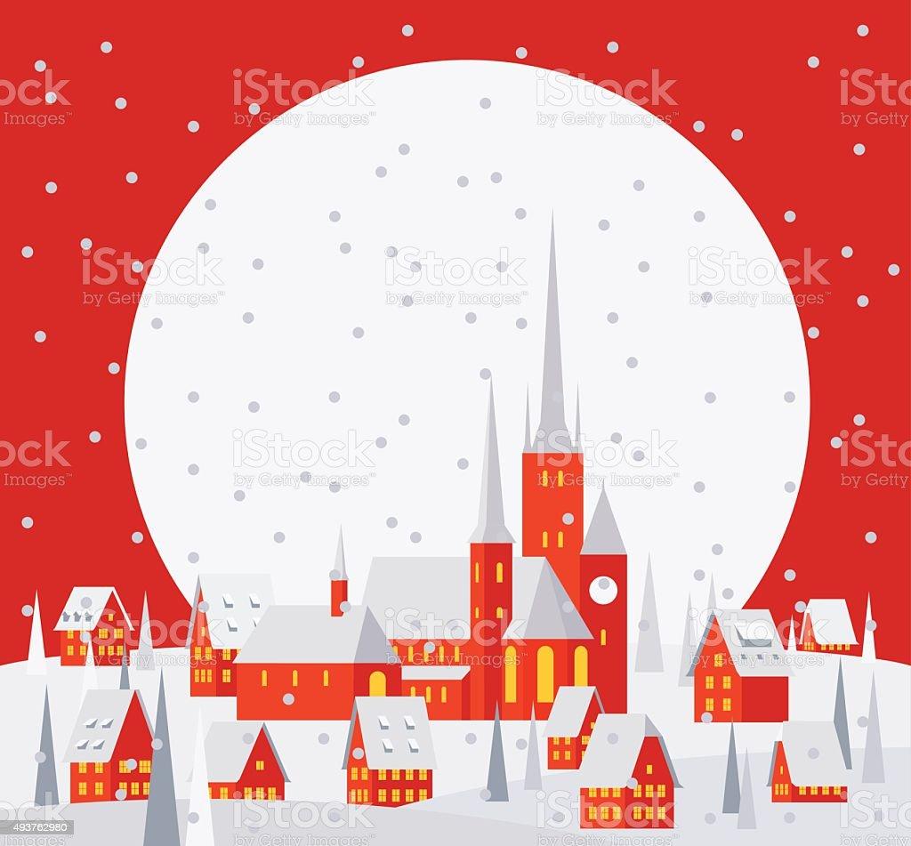 Christmas Village Landscape - Illustration vector art illustration