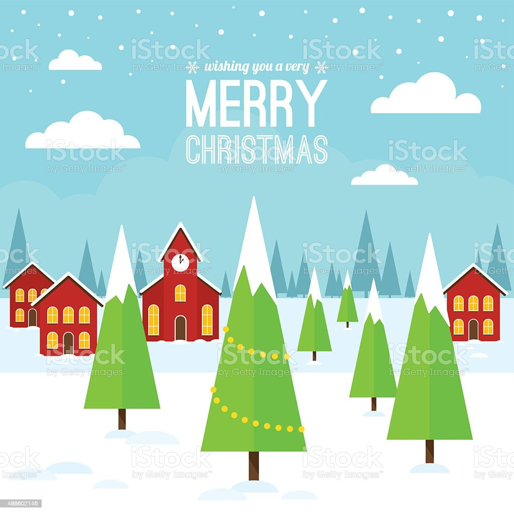 Christmas Village Landscape vector art illustration