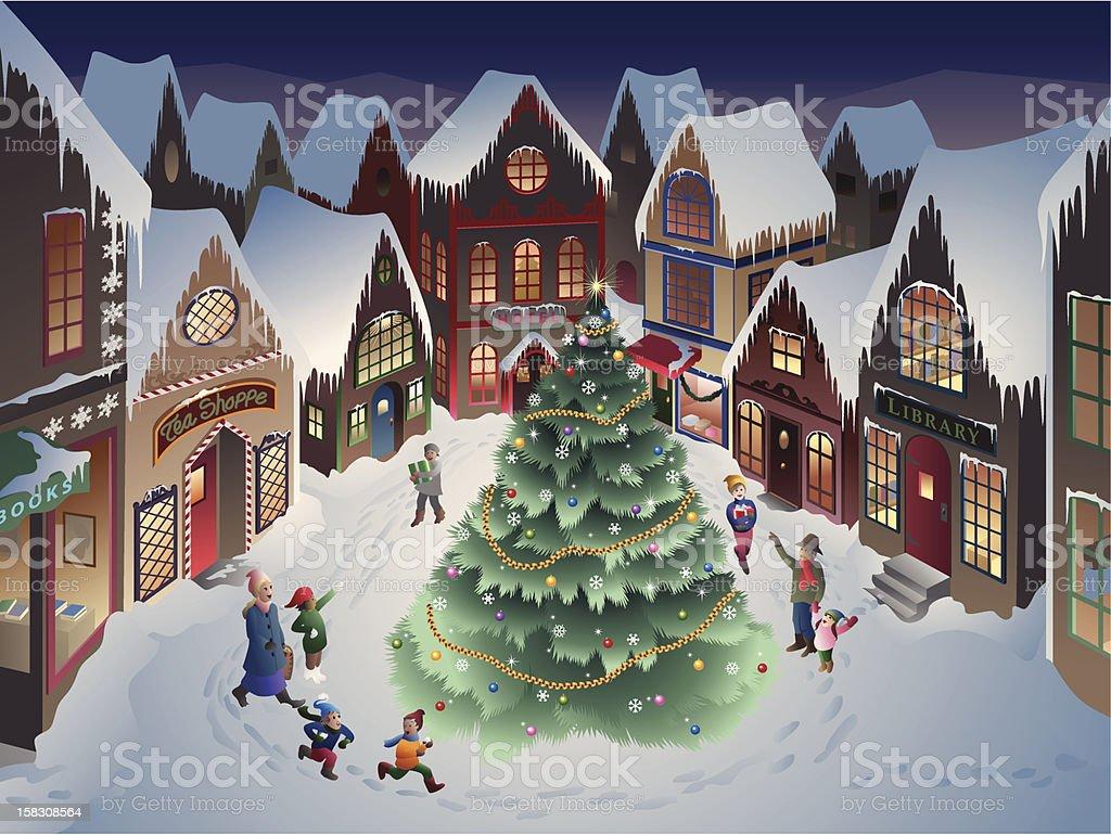 Christmas Village vector art illustration