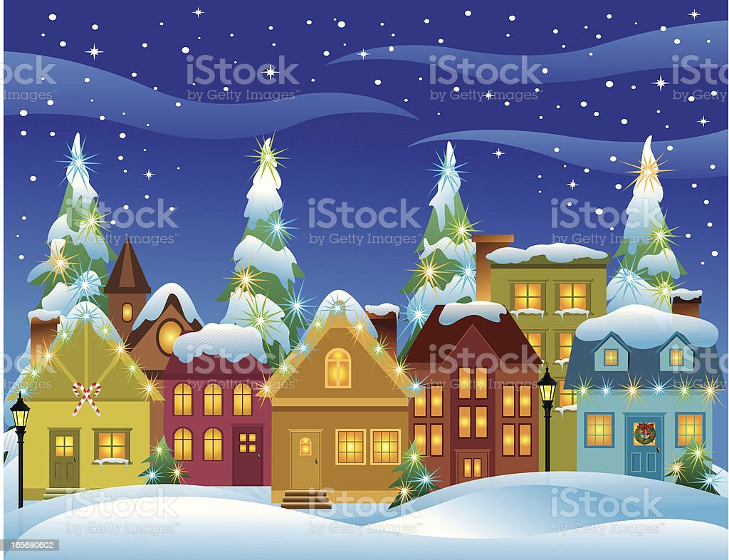 Christmas Village vector art illustration