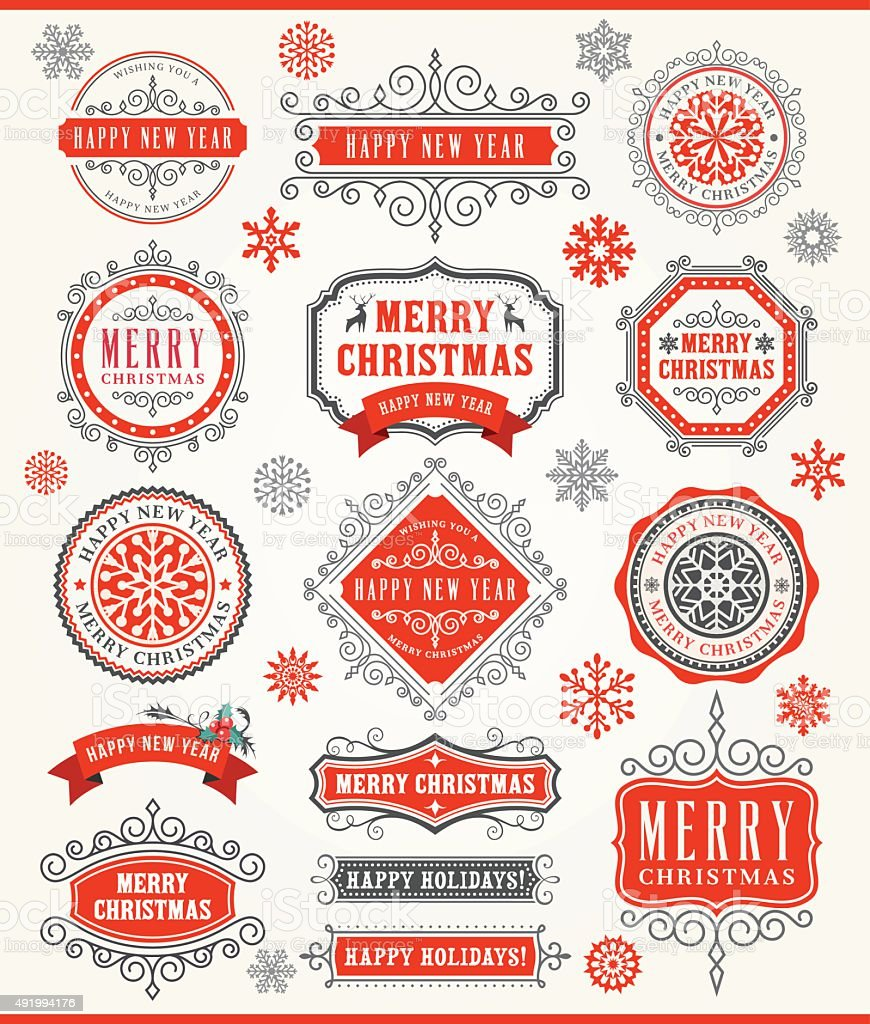 Christmas Vintage Badges vector art illustration