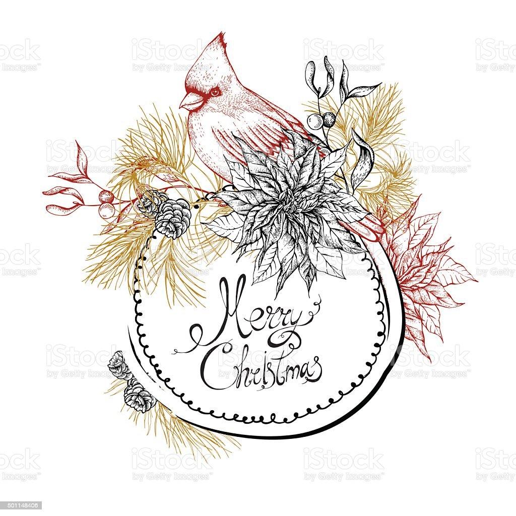 Christmas vintage floral greeting card vector art illustration