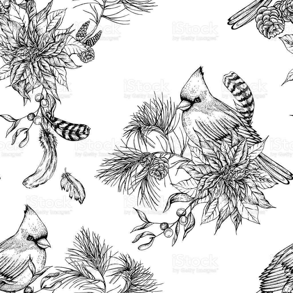Christmas vintage floral seamless background vector art illustration