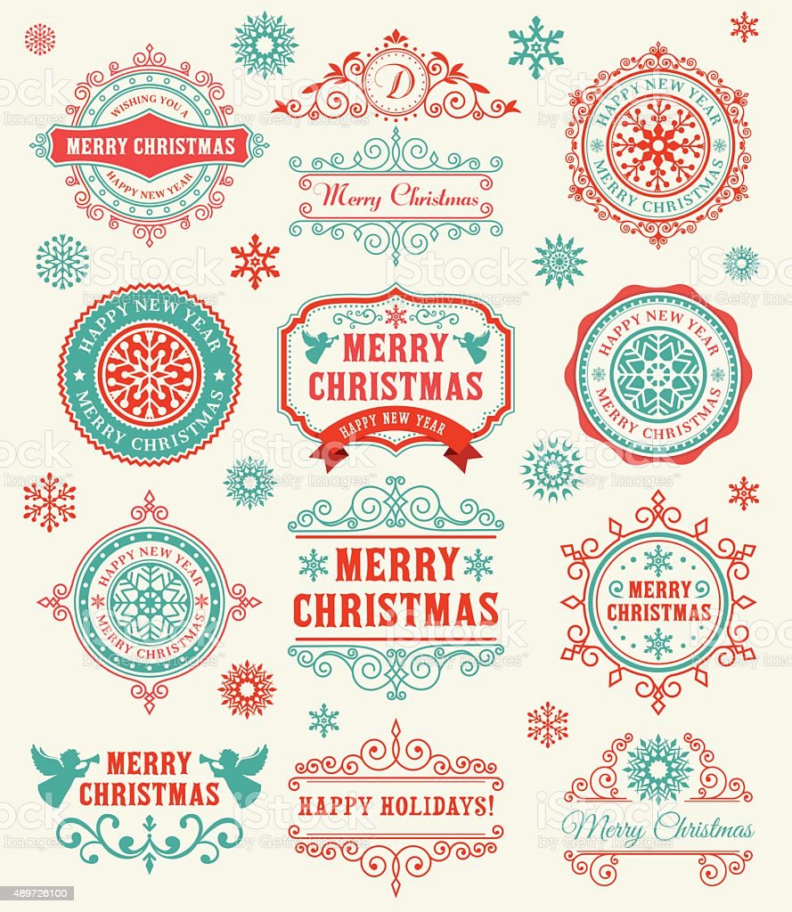 Christmas Vintage Frame vector art illustration