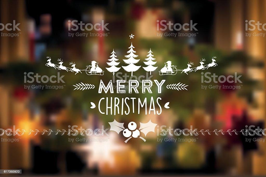 christmas vintage icon on blurred festive background vector art illustration