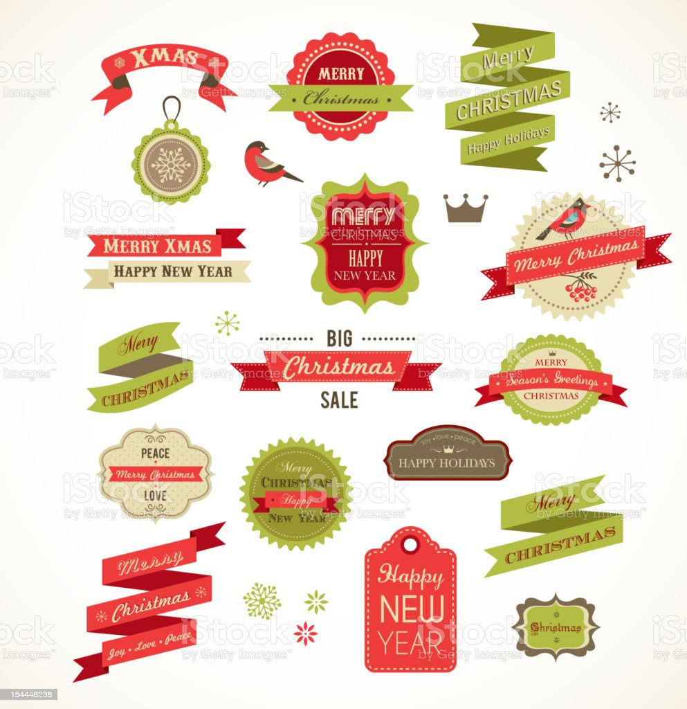Christmas vintage labels, elements and illustrations vector art illustration