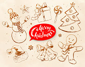 Christmas vintage objects on obsolete paper background