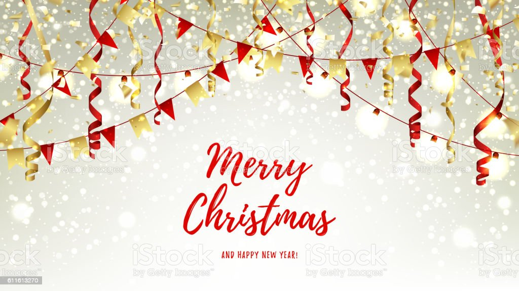 Christmas web banner with garlands and serpentine royalty-free stock vector art