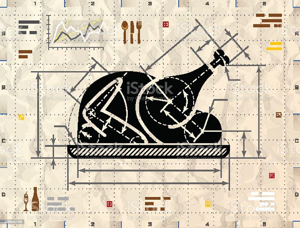Christmas whole turkey symbol as technical blueprint drawing vector art illustration