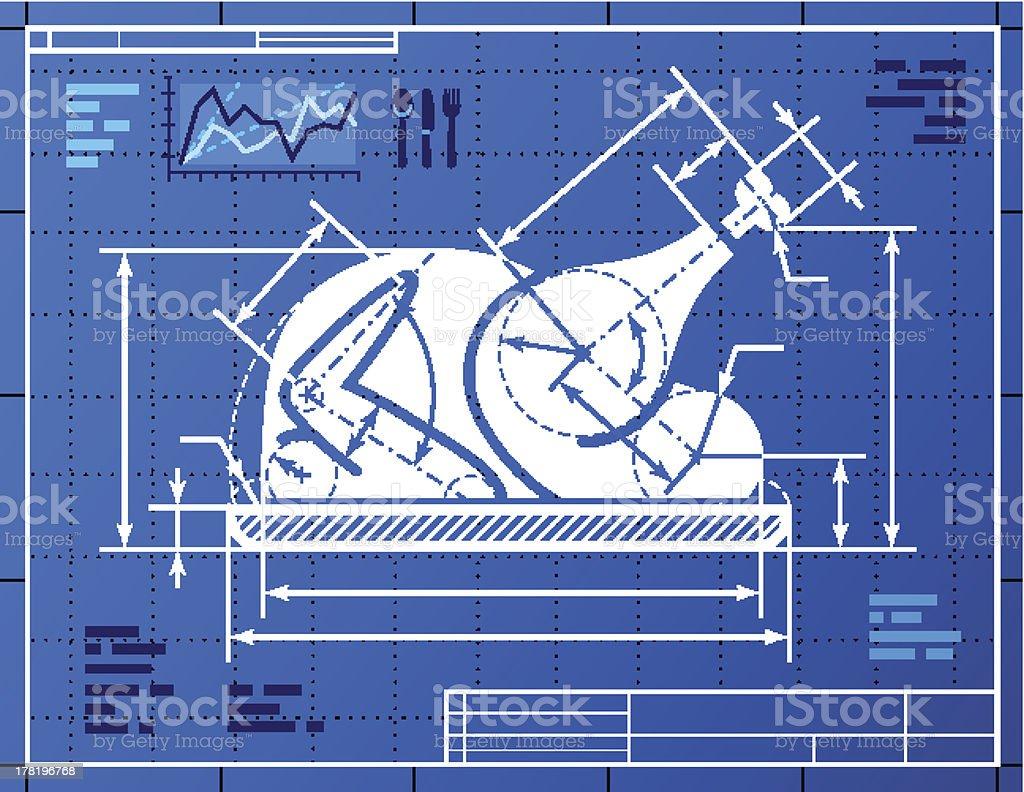 Christmas whole turkey symbol like blueprint drawing vector art illustration