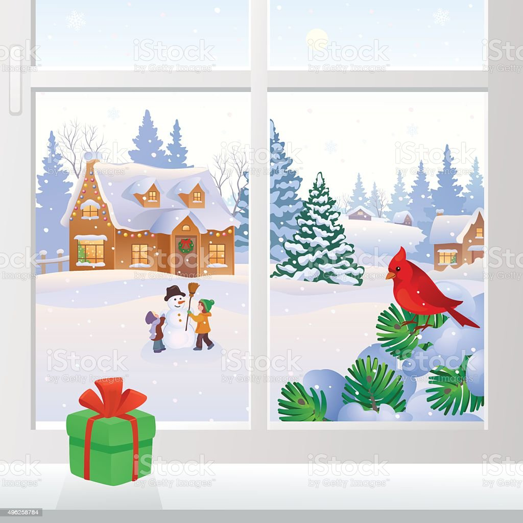 Christmas window view vector art illustration