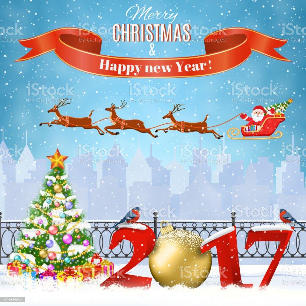 Christmas Winter Cityscape vector art illustration