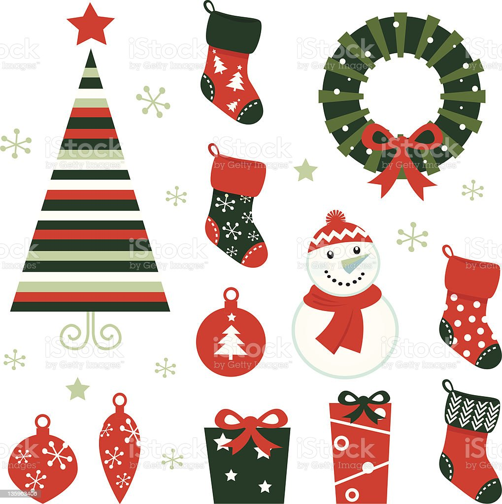 Christmas & winter design elements isolated on white ( red & green ) royalty-free stock vector art