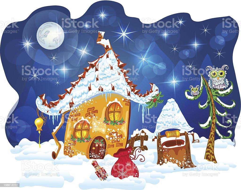 christmas winter house royalty-free stock vector art