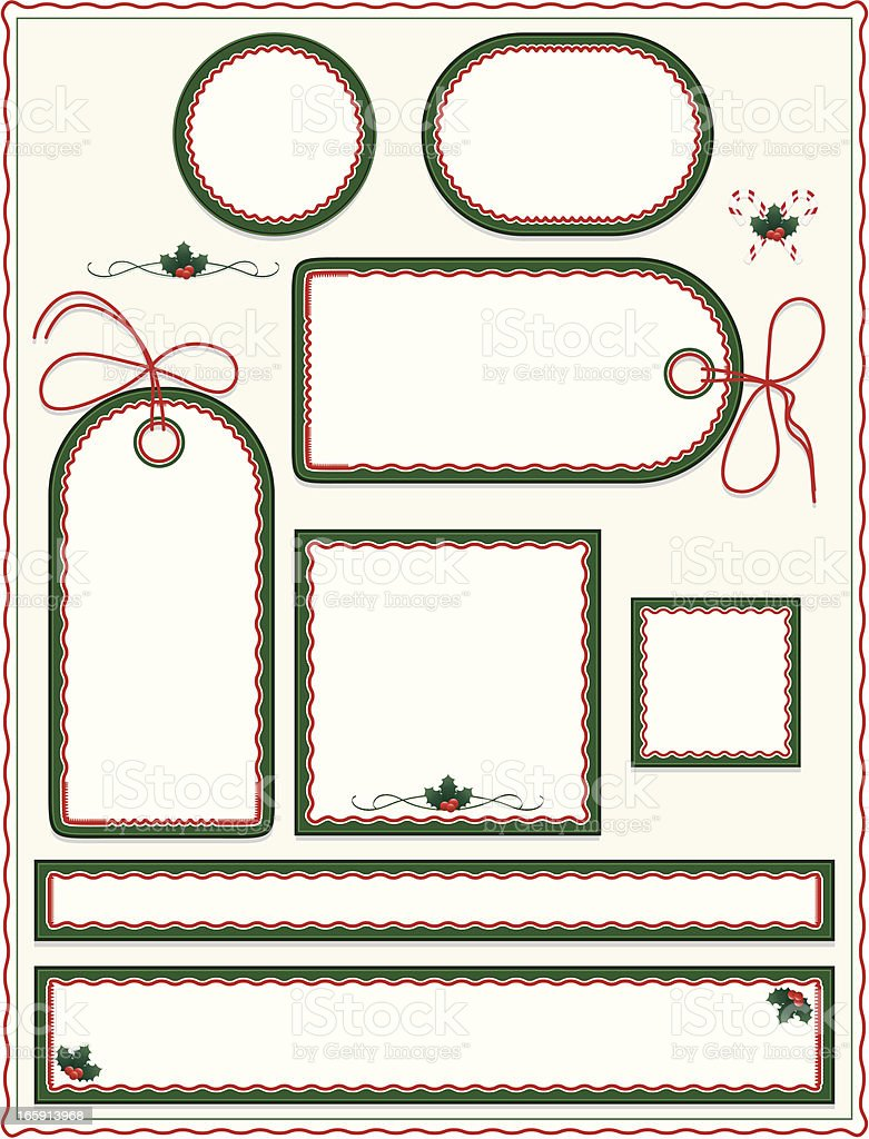 Christmas, Winter Labels, Tags, Stickers, Background Set: Green, Red, White royalty-free stock vector art