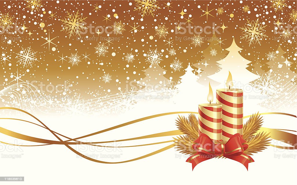 Christmas winter landscape and Candles with needles & red ribbon royalty-free stock vector art