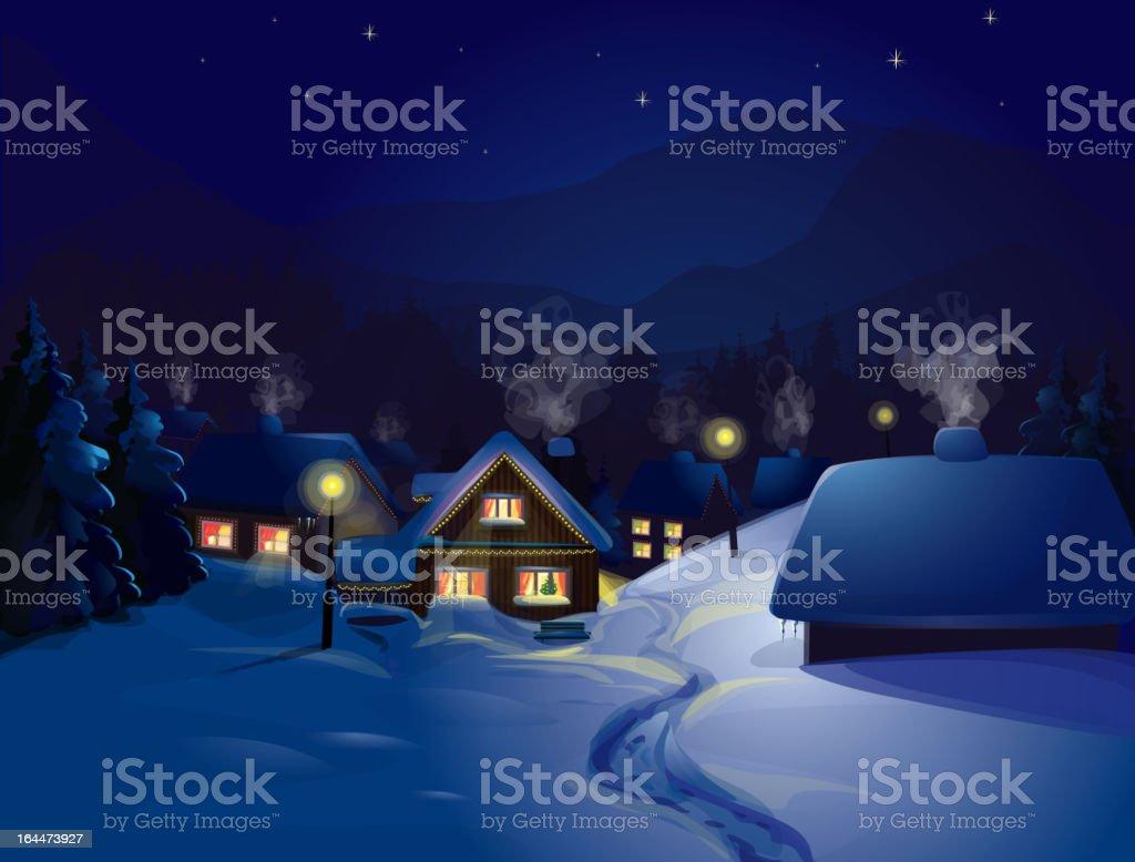 Christmas winter landscape of a house snow scene at night vector art illustration