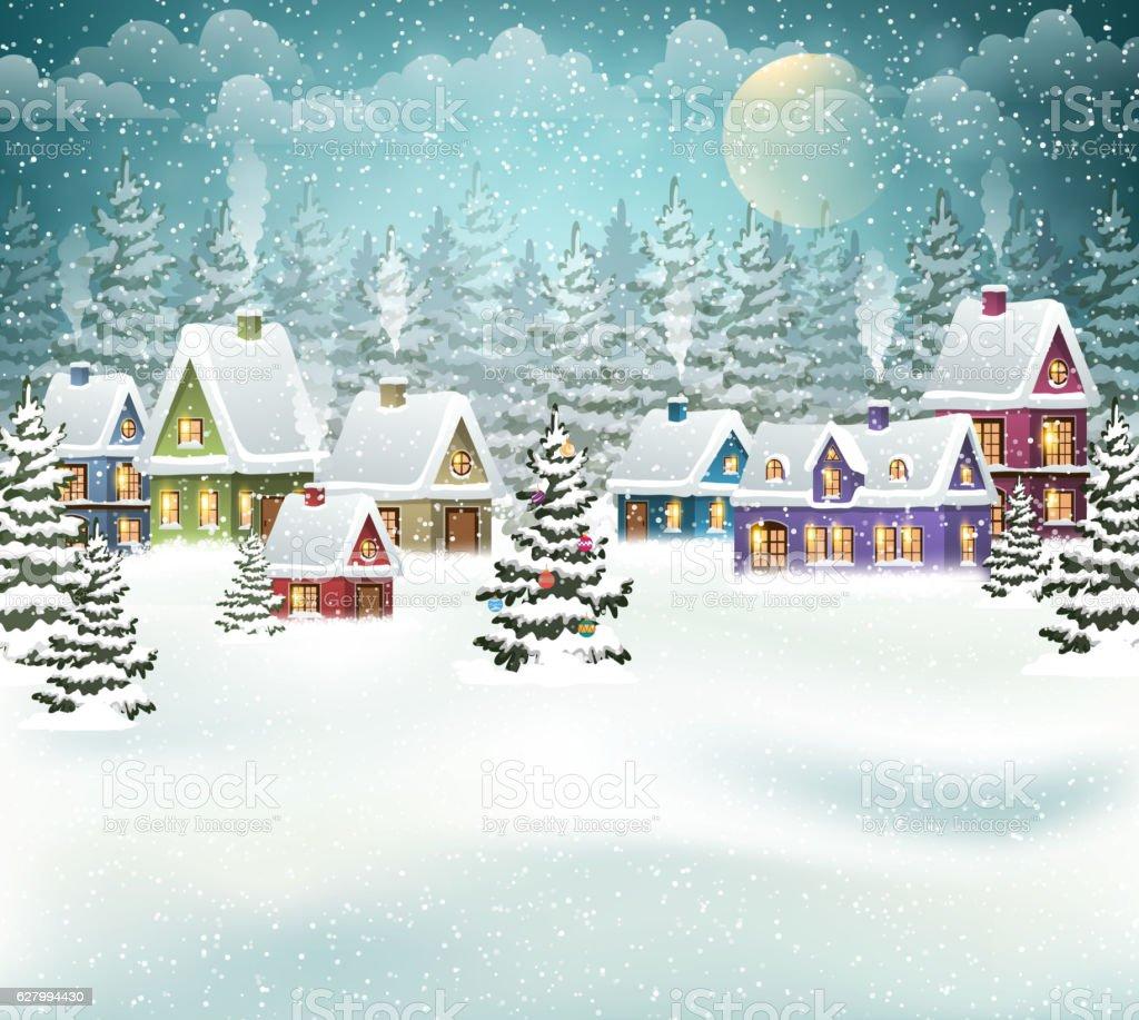 Christmas winter village vector art illustration