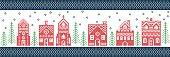 Christmas Winter wonderland gingerbread houses village pattern