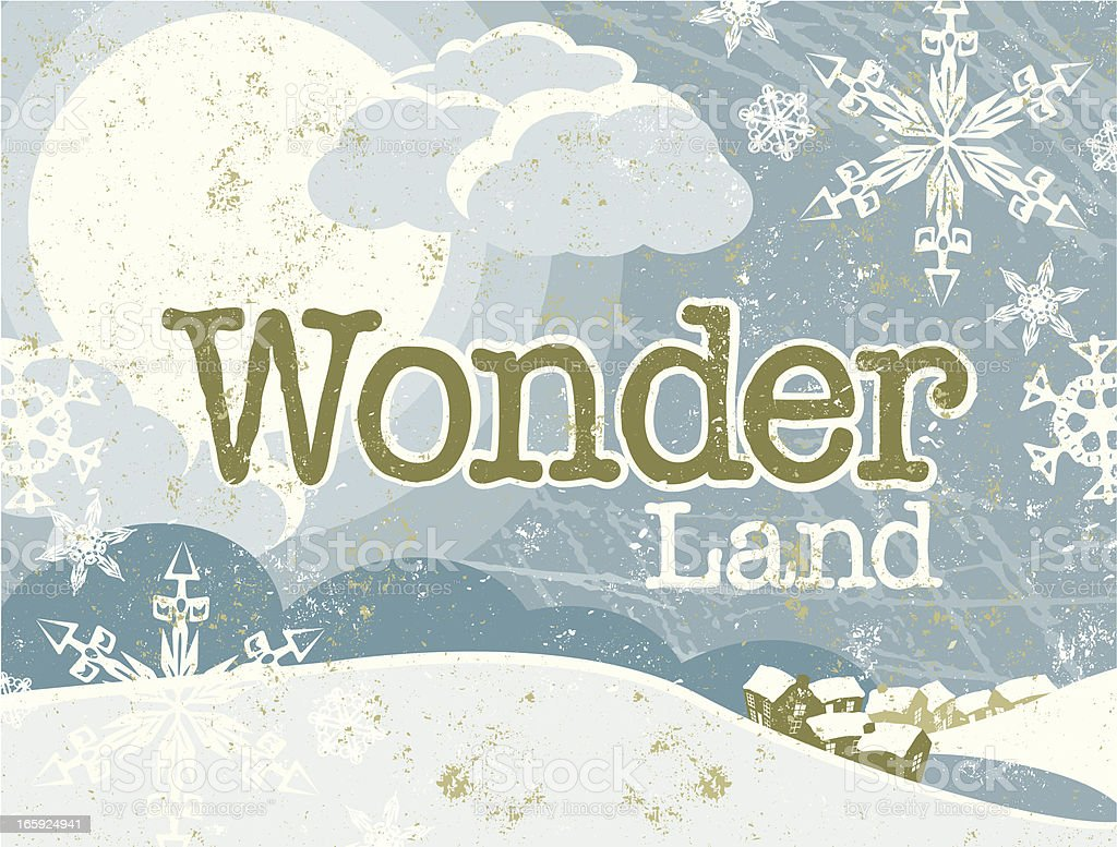 Christmas Winter Wonderland Scene and Text royalty-free stock vector art