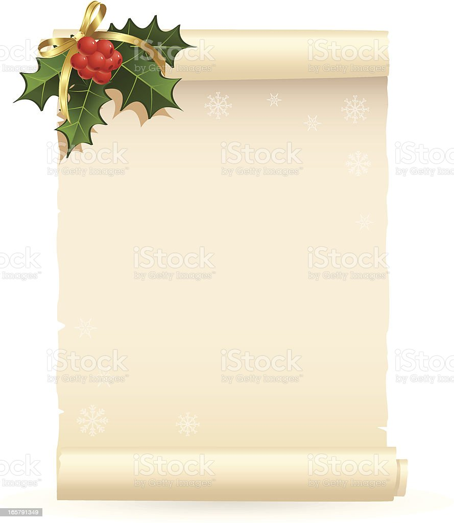 Christmas wish list with holly on top royalty-free stock vector art