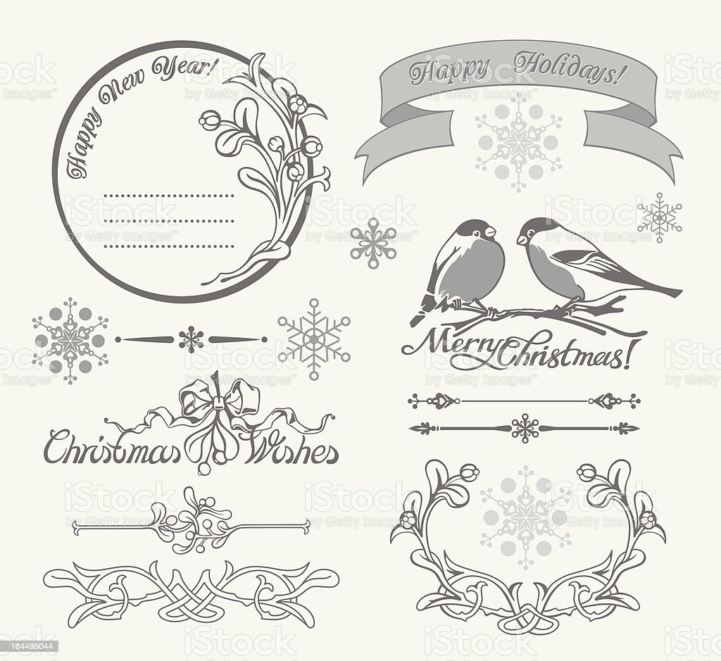 Christmas Wishes Calligraphic Set royalty-free stock vector art