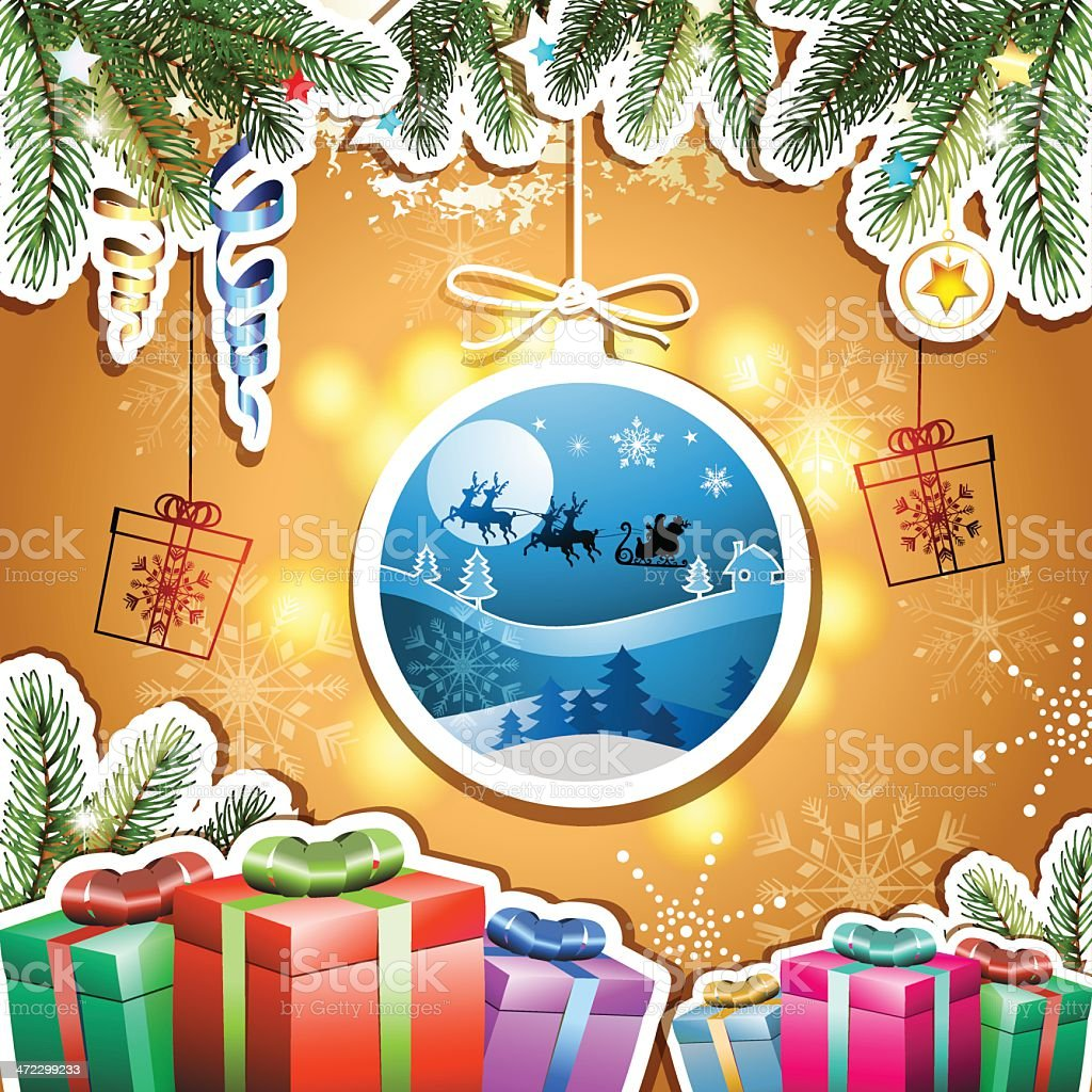 Christmas with gifts royalty-free stock vector art