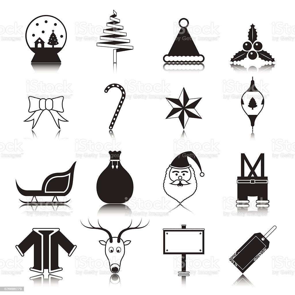 Noël avec réflexion icon set vector illustration stock vecteur libres de droits libre de droits