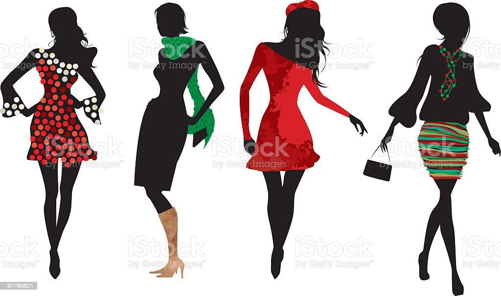 Christmas women silhouettes vector art illustration