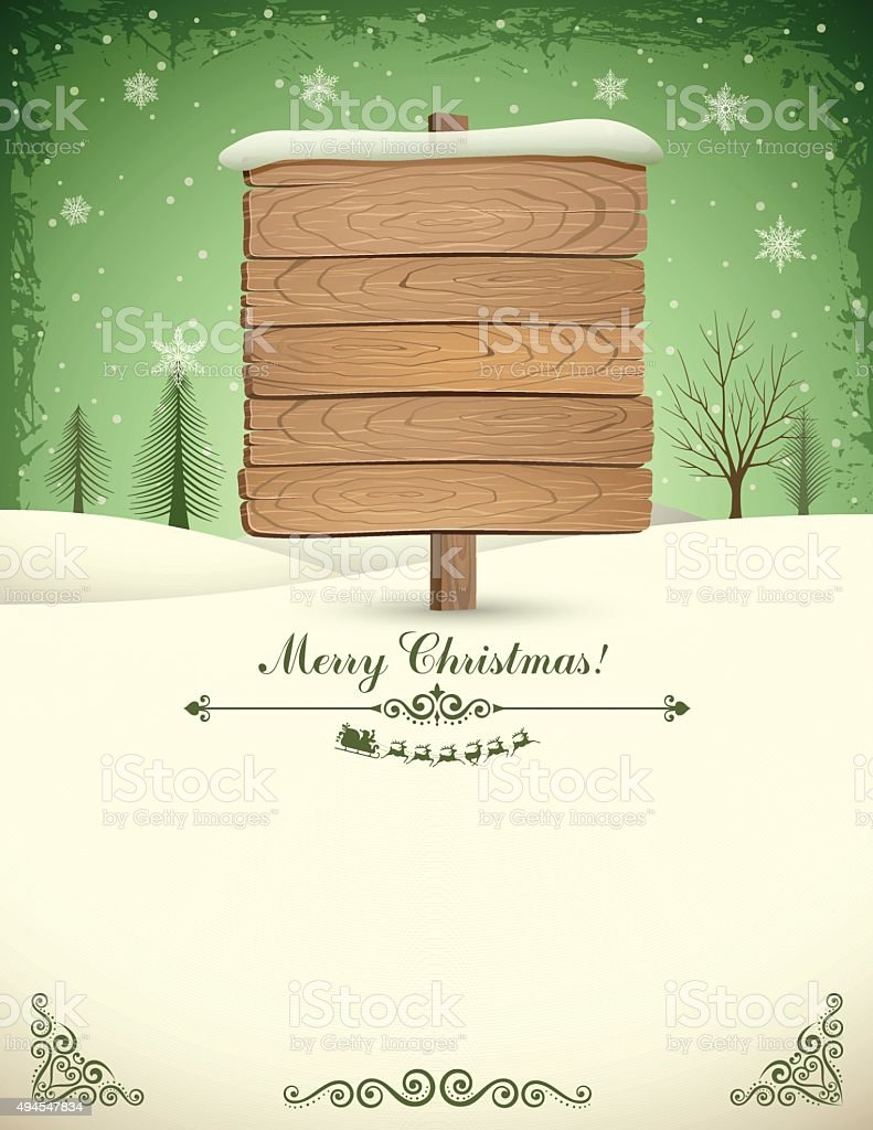 Christmas Wooden Sign vector art illustration
