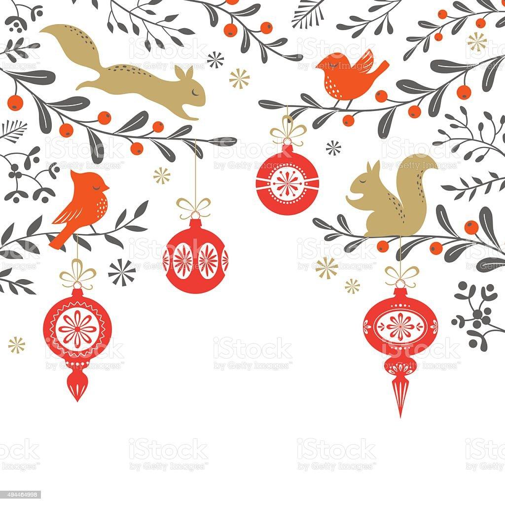 Christmas woodland background vector art illustration