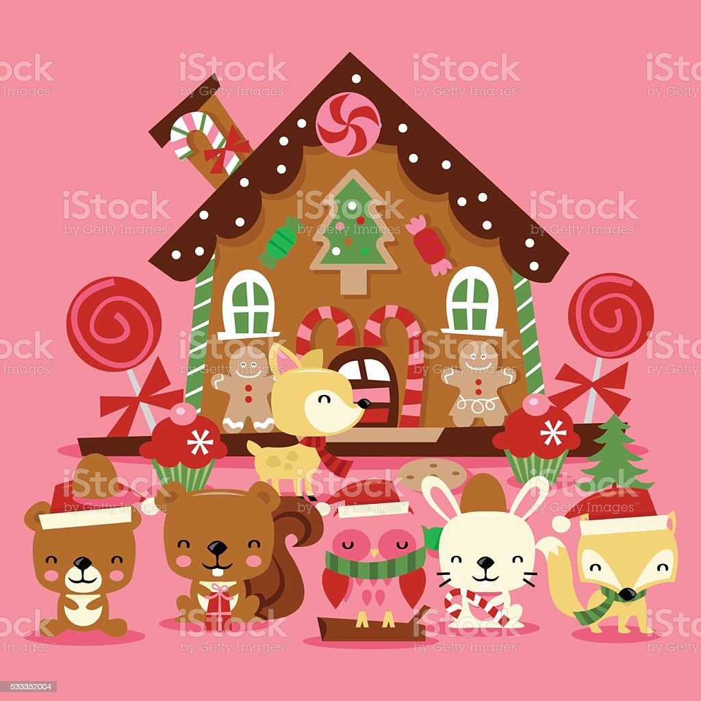 Christmas Woodland Creatures Gingerbread House vector art illustration