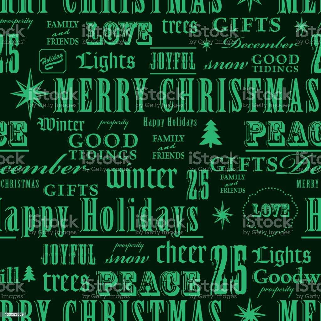 Christmas words green repeat seamless pattern background royalty-free stock vector art