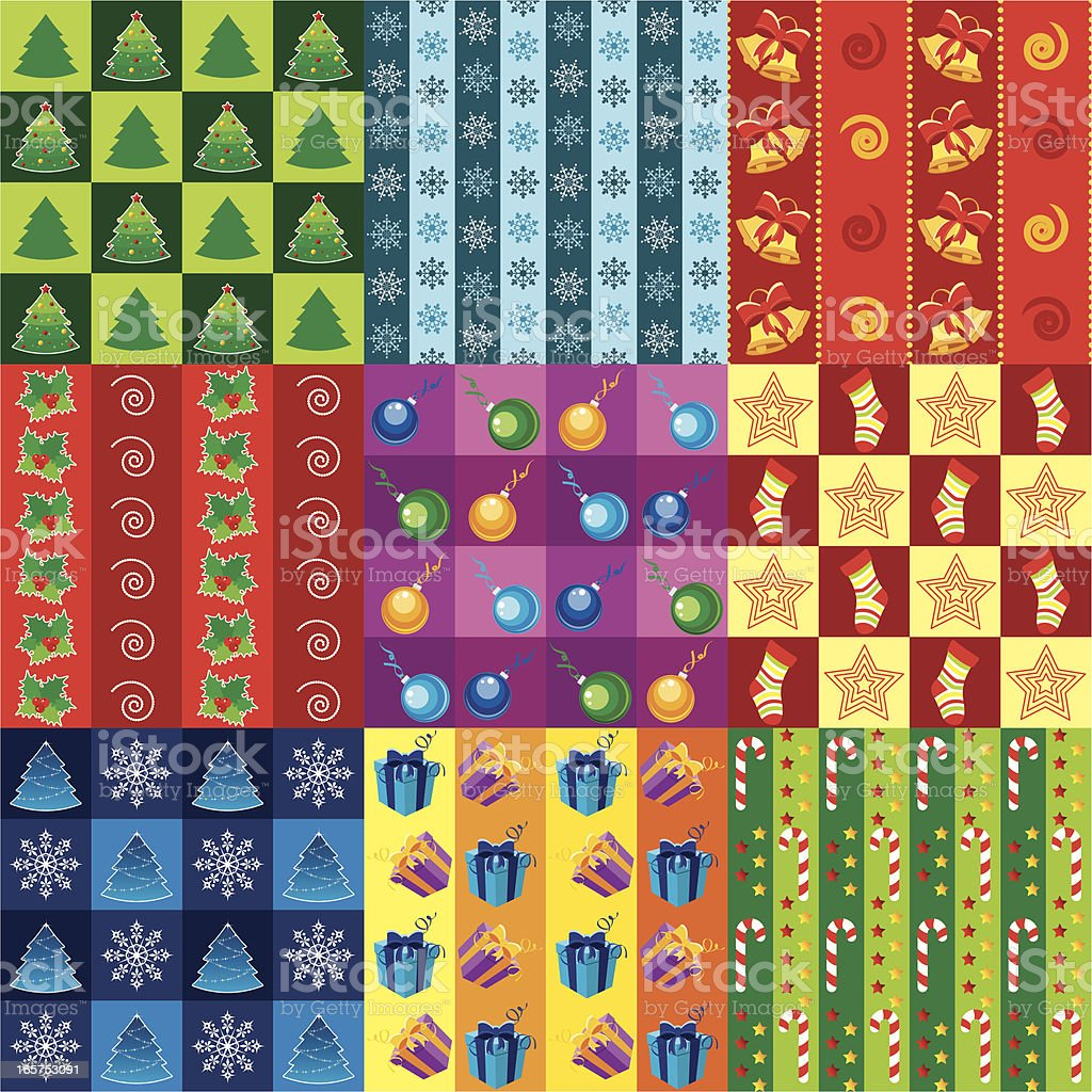 Christmas wrapping paper set three royalty-free stock vector art
