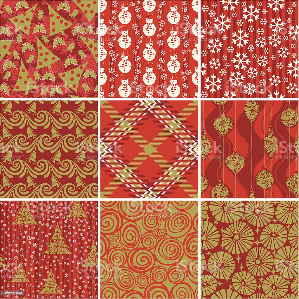 Christmas wrapping paper vector art illustration