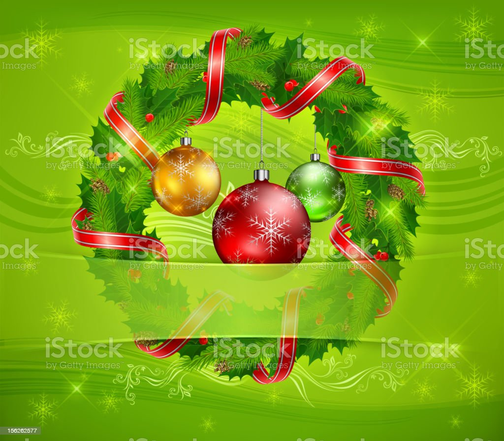 Christmas wreath and balls royalty-free stock vector art