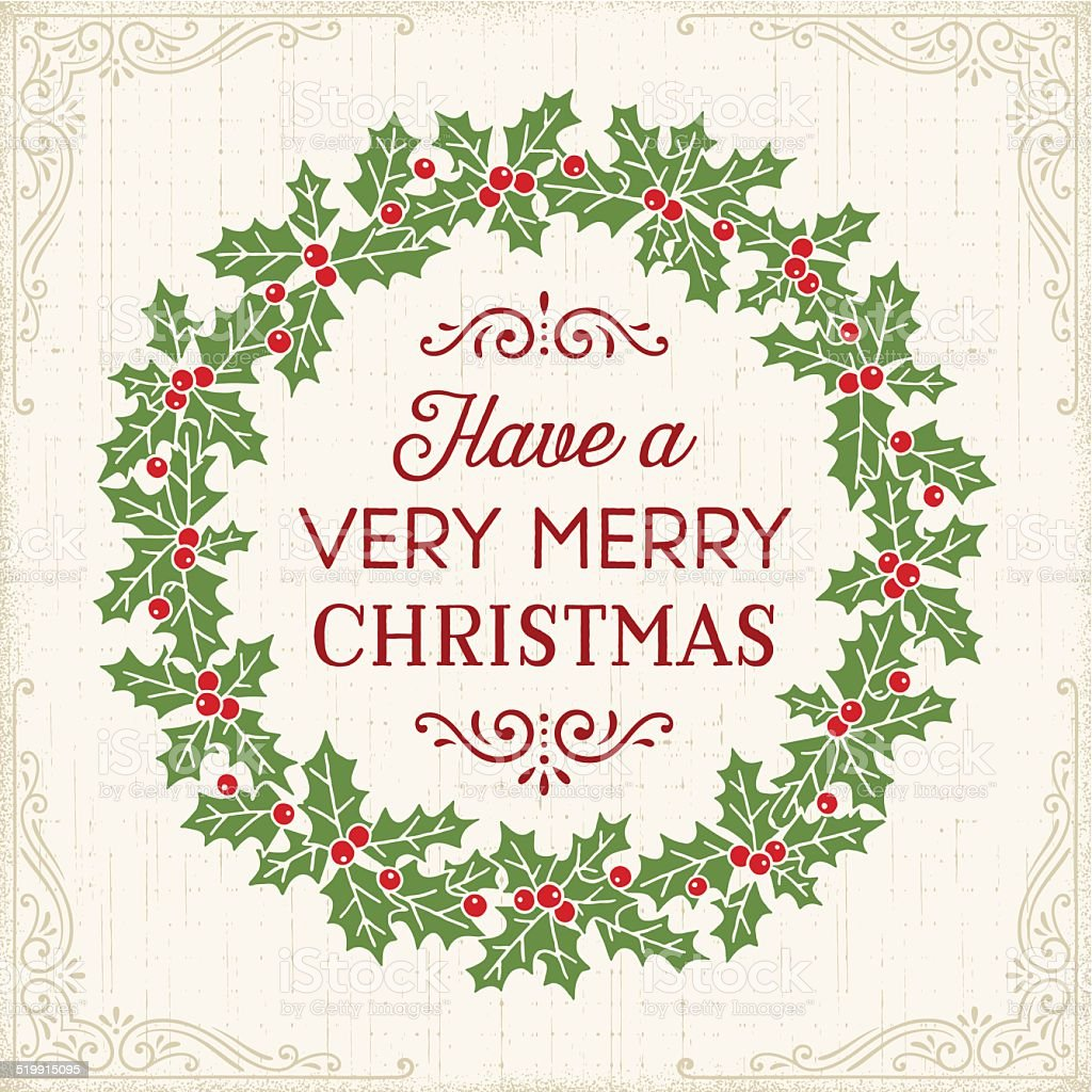 Christmas Wreath Drawing vector art illustration