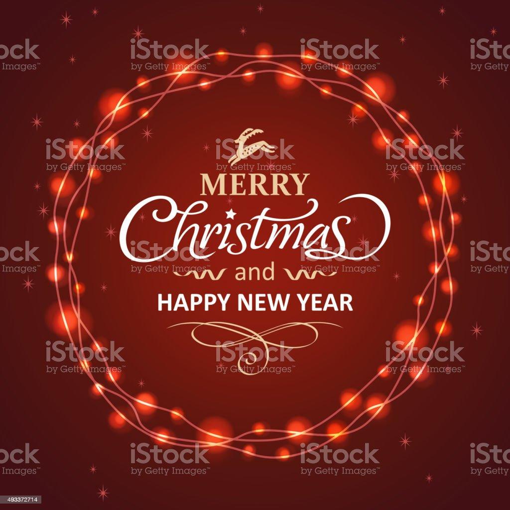Christmas wreath of lights vector art illustration