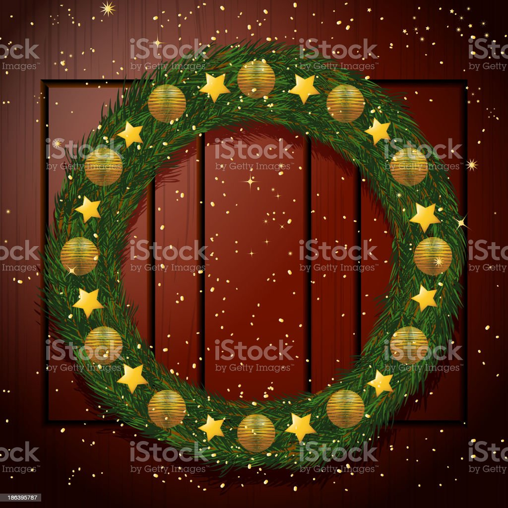 Christmas wreath on a wooden background royalty-free stock vector art